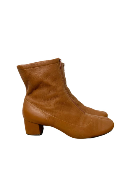 70s Caramel Zip-up Ankle Boots - size W's 8