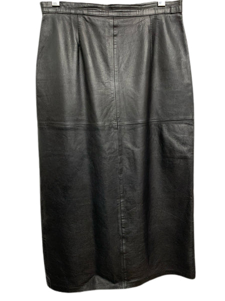 80s Mid-Calf Black Leather Skirt - size W's 12