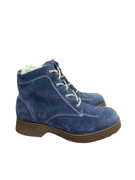 70s Blue Suede Faux Fur Lined Boots - size W's 9