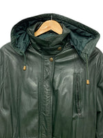 90s Sequence Forest Green Winter Leather Jacket - size W's 8/10