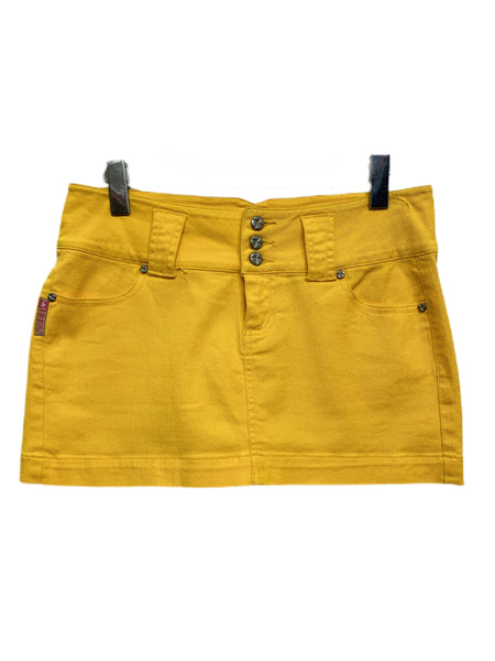 90s Bubblegum Yellow Denim Mini Skirt - size W's 7/9