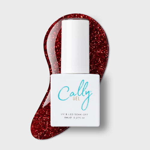 Cally gel red glitter nail polish high gloss long lasting durable finish. UV and LED curable and chip resistant.