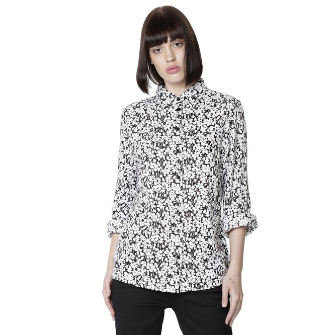 Double TWO Women Black & White Floral Print Top