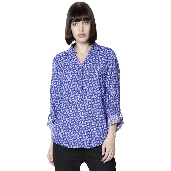Double TWO Women Purple Floral Print Top