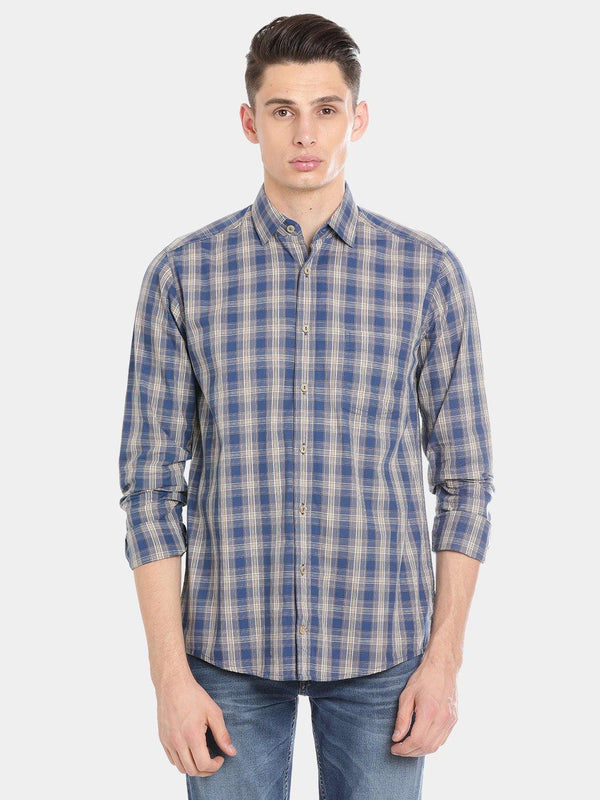 Casual Grey Checked Shirt - Doubletwoindia