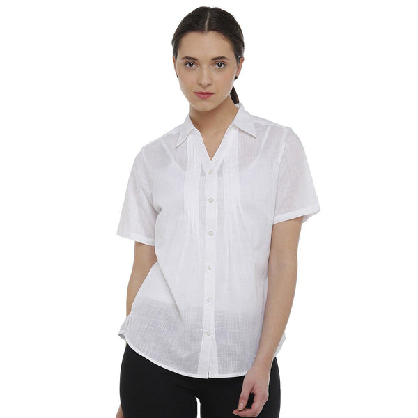 Double TWO White Solid Classic Fit Women's Shirt - Doubletwoindia