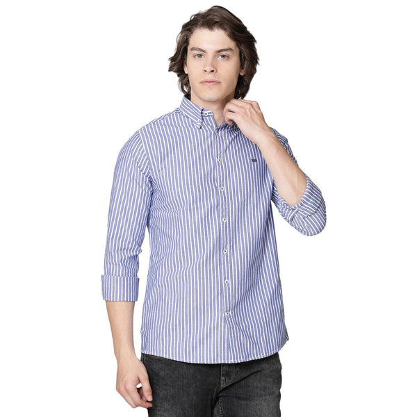 Casual Blue Striped Shirt - Doubletwoindia