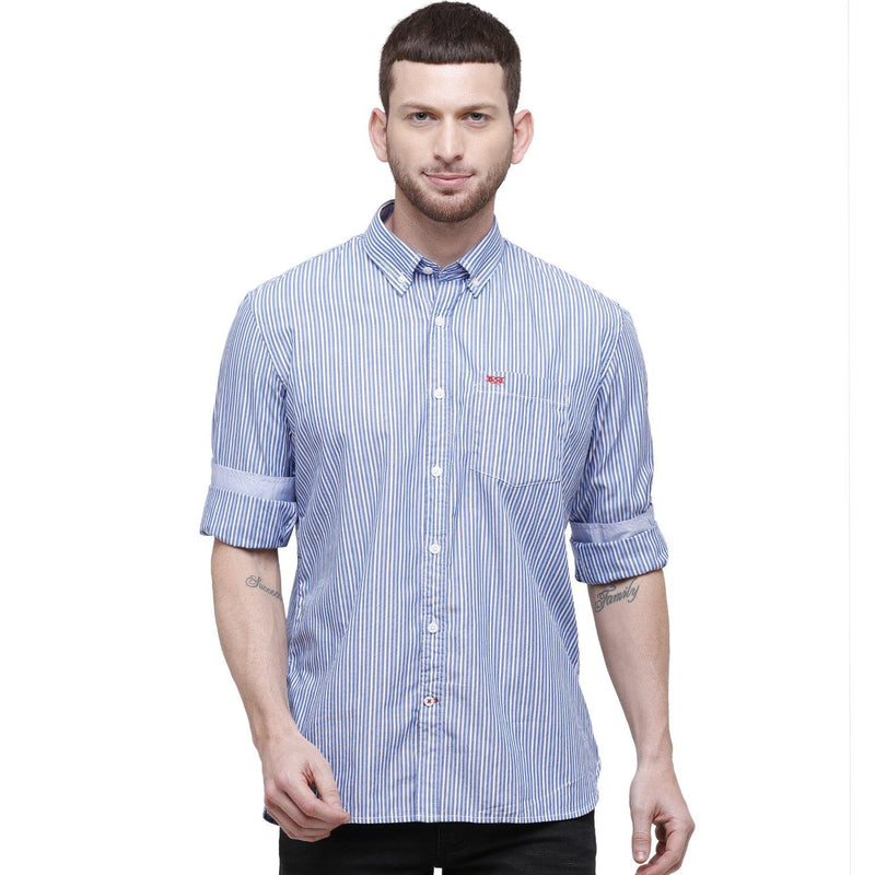 Men Blue Striped Slim Fit Casual Shirt