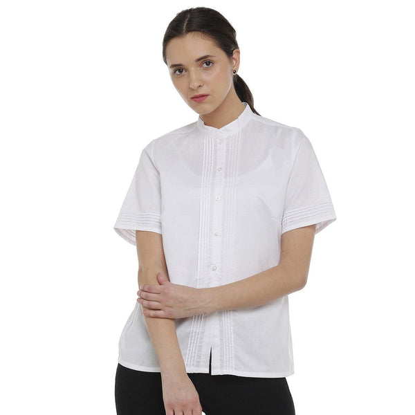 Double TWO White Solid Classic Fit Women's Shirt