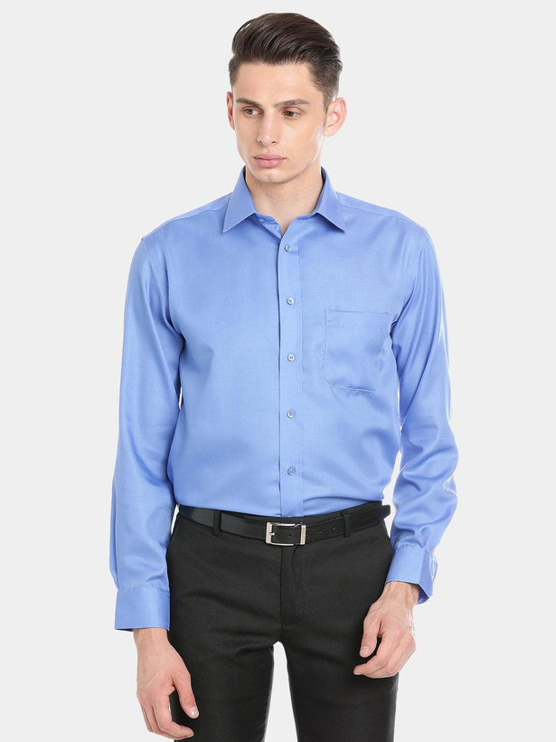 Luxury Pure Cotton Non-Iron Formal Dark Blue Plain Shirt - Doubletwoindia