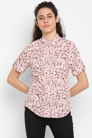 Double TWO Women's Light Pink Regular Fit Top