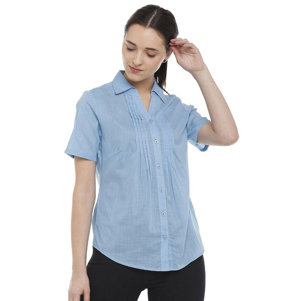 Double TWO Sky Blue Solid Classic Fit Women's Shirt - Doubletwoindia
