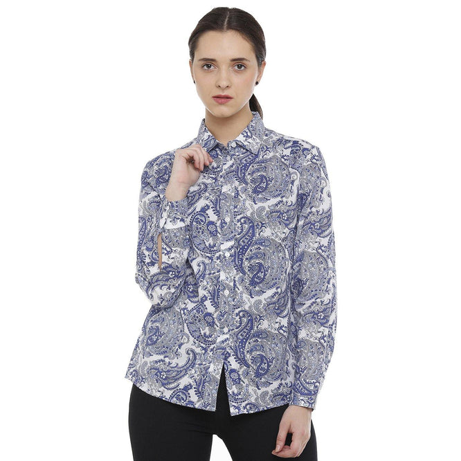 Double TWO Blue Paisley Classic Fit Women's Shirt