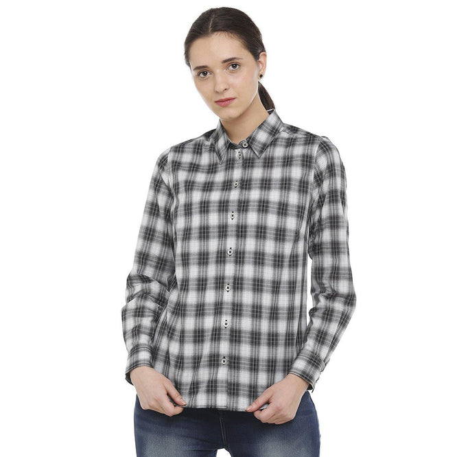 Double TWO Black & White Checks Classic Fit Women's Shirt