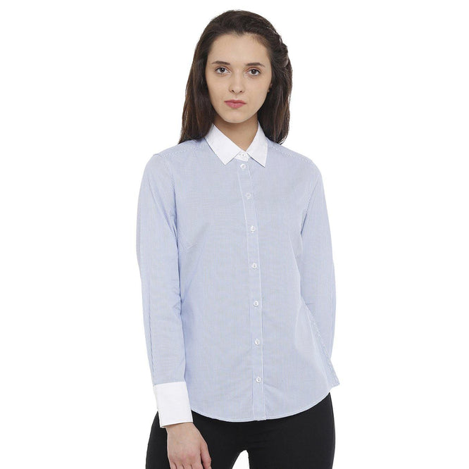 Double TWO Blue Striped Classic Fit Women's Shirt