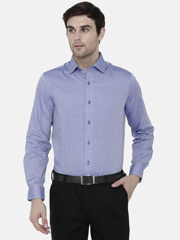 Formal Blue Dobby Checked Shirt