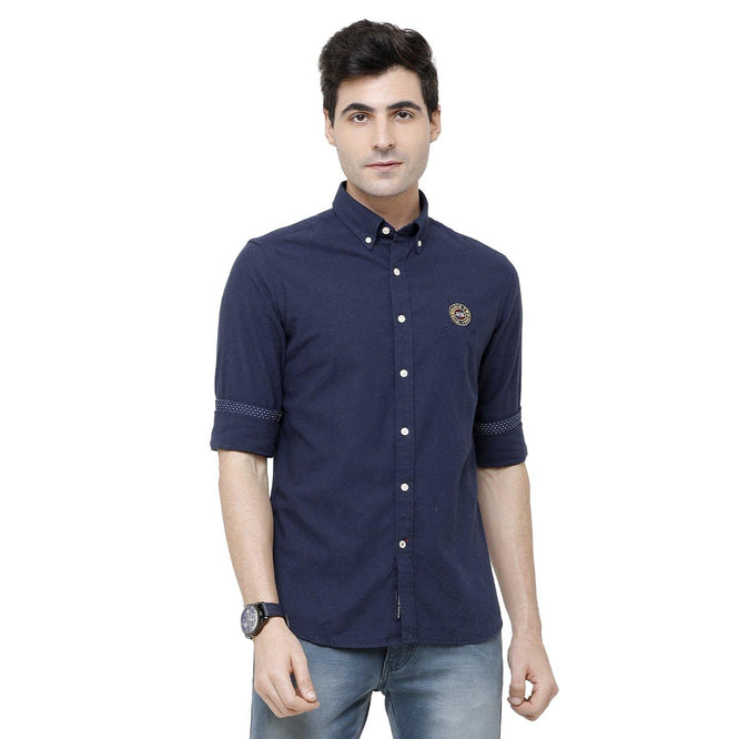 Casual Navy Blue Plain Shirt - Doubletwoindia