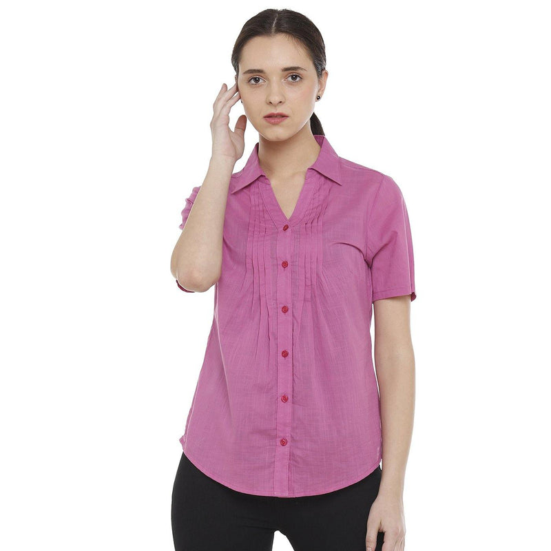 Double TWO Women's Cotton Half Sleeve Pink Shirt - Doubletwoindia
