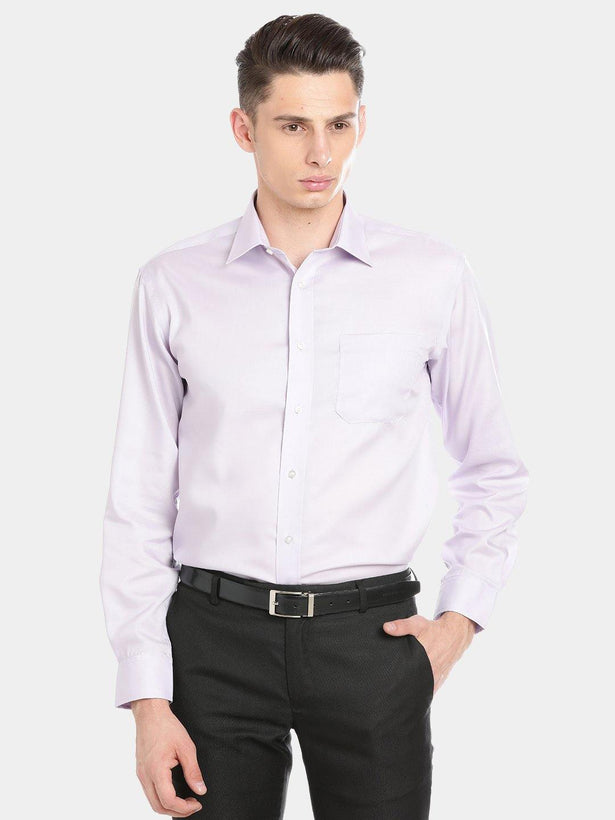 Luxury Pure Cotton Non-Iron Formal Light Purple Plain Shirt - Doubletwoindia