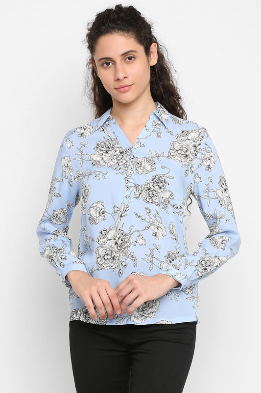 Double TWO Women's Sky Blue Bloom Print Shirt - Doubletwoindia