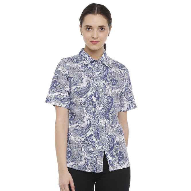 Double TWO Blue Paisley Fit Short Sleeve Shirt