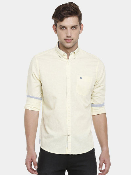 Casual Yellow Linen Plain Shirt - Doubletwoindia