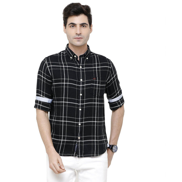 Casual Black Flannel checked Shirt