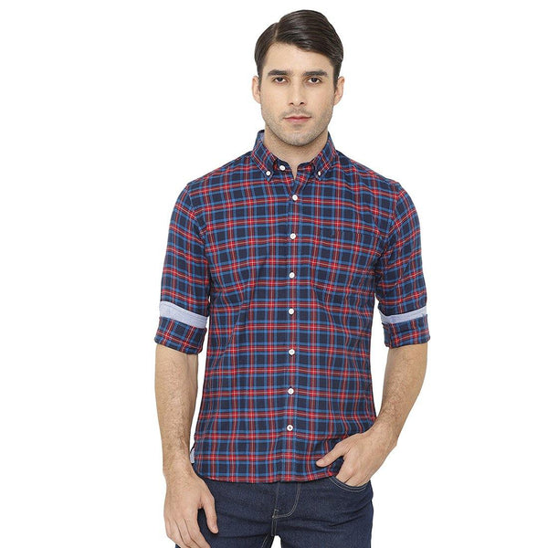 Casual Red & Navy Blue Checked Shirt