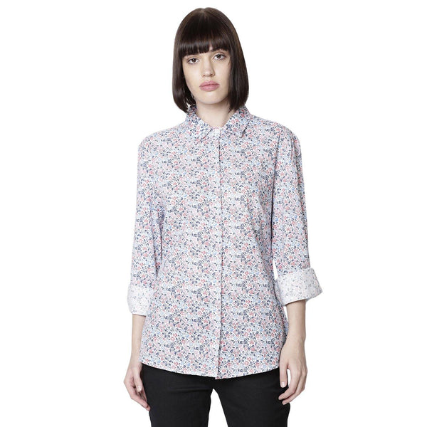 Double TWO Women Blue Floral Frill Semi Fitted Shirt