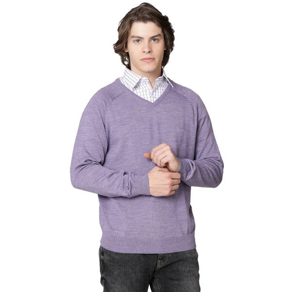 Double Two Wool Blend Purple Sweater - Doubletwoindia