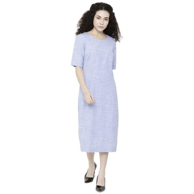 Double TWO Blue Solid Ladies Dress