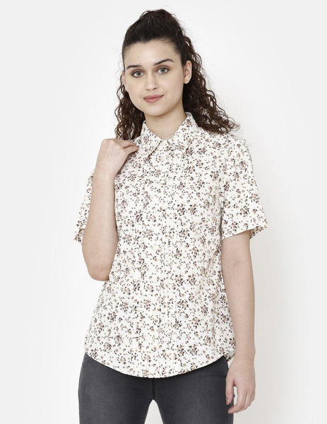 Double TWO Women Brown Front Pleated Floral Print Shirt - Doubletwoindia