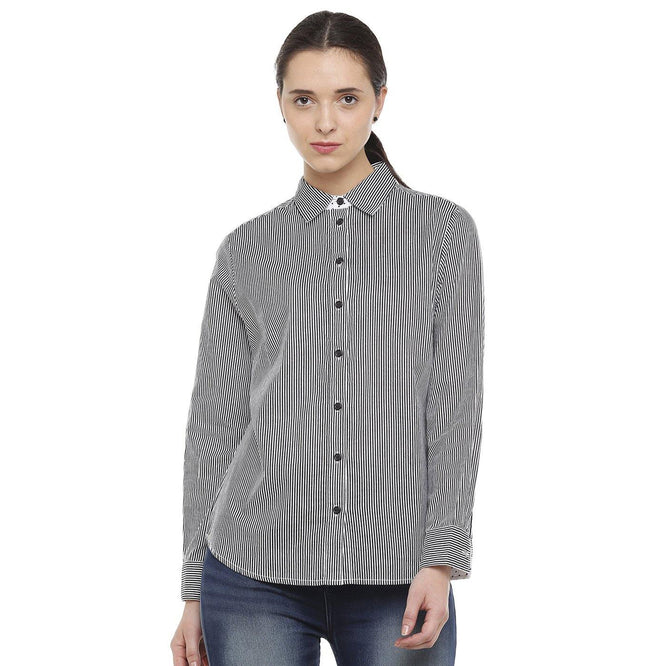 Double TWO Black Striped Classic Fit Women's Shirt - Doubletwoindia