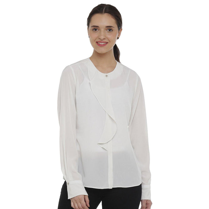 Double TWO Ivory Waterfall Front Women's Top