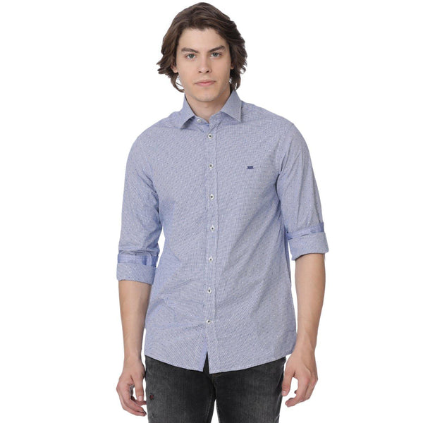 Double Two Casual Blue Gingham Dot Printed Shirt
