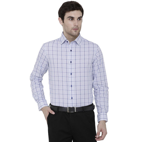 Formal Blue Checked Shirt