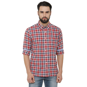 Casual Coral & Navy Blue Checked Shirt - Doubletwoindia