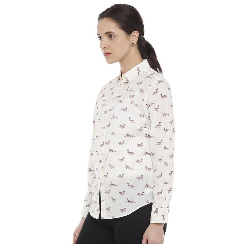 Double TWO Cream Animal Print Classic Fit Women's Shirt - Doubletwoindia