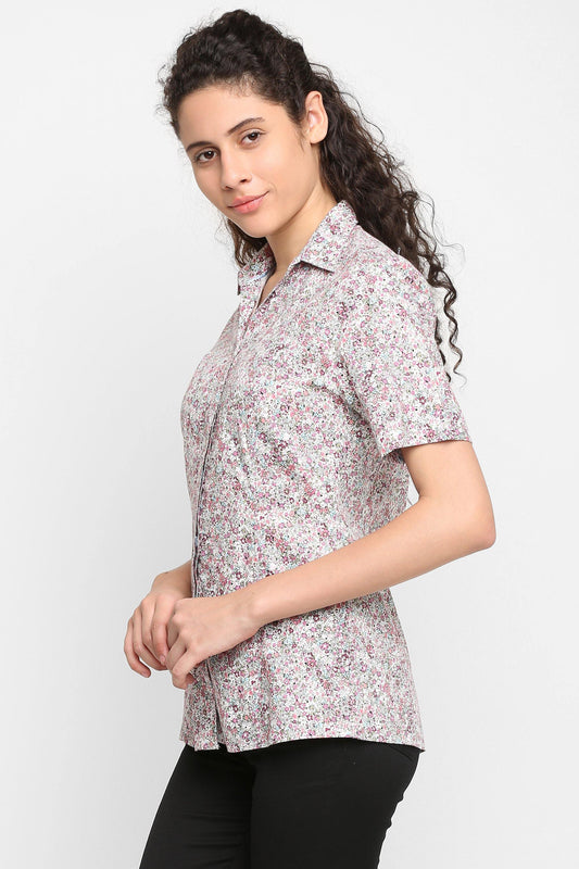 Double TWO Women's Pink Floral Print Half Sleeve Shirt - Doubletwoindia