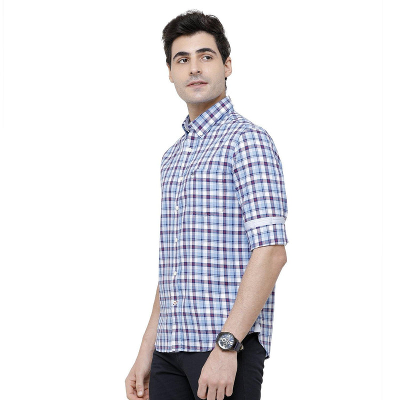 Casual Blue Checked Shirt - Doubletwoindia