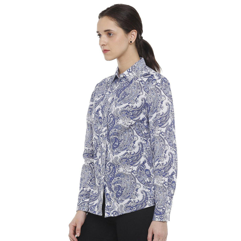 Double TWO Blue Paisley Classic Fit Women's Shirt - Doubletwoindia