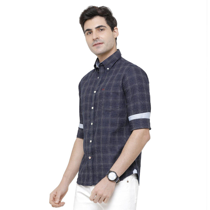 Casual Navy Blue Flannel Checked Shirt - Doubletwoindia