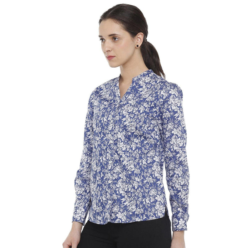 Double TWO Blue Floral Print Open Neck Classic Fit Women's Shirt - Doubletwoindia