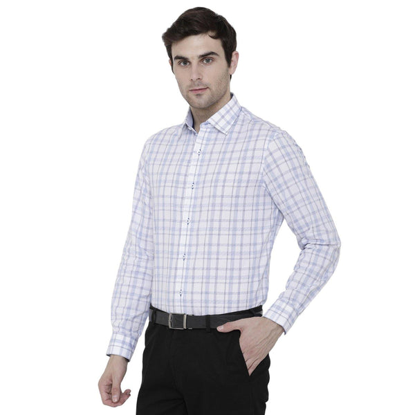 Formal Blue Marked Checked Shirt