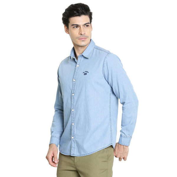 Casual Light Blue Denim Shirt