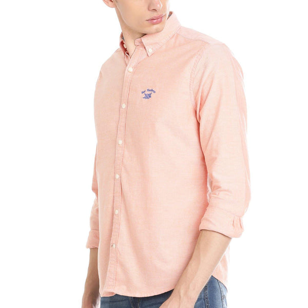 Casual Orange Plain Shirt