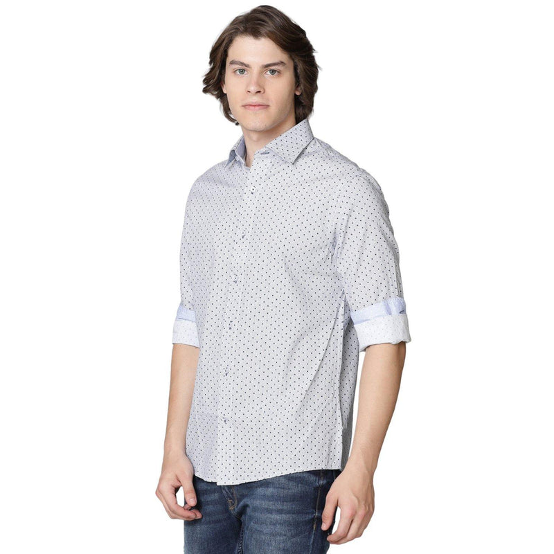 Casual Navy Spotted Shirt - Doubletwoindia