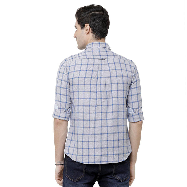 Casual Grey Flannel Checked Shirt