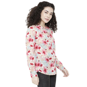 Double TWO Women Rose Floral Print Top