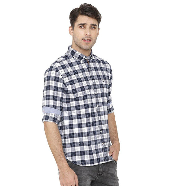 Casual Grey & White Checked Shirt